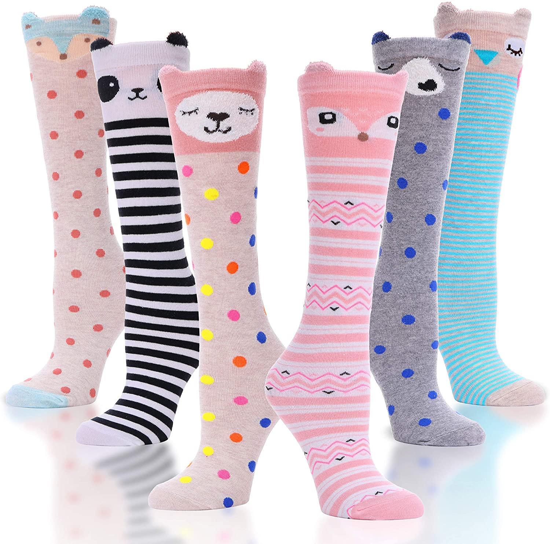 Girls Knee High Socks Cute Unicorn Pattern Novelty Funny Cotton Socks for Kids 6 Pairs