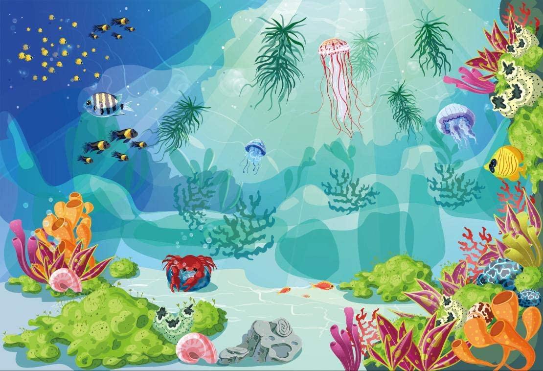 Leyiyi 6x4ft Photography Background Kids Happy Birthday Backdrop Cartoon Underwater World Aquarium Tropical Fish Crab Turtle Rock Summer Party Banquet Baby Shower Photo Portrait Vinyl Studio Prop
