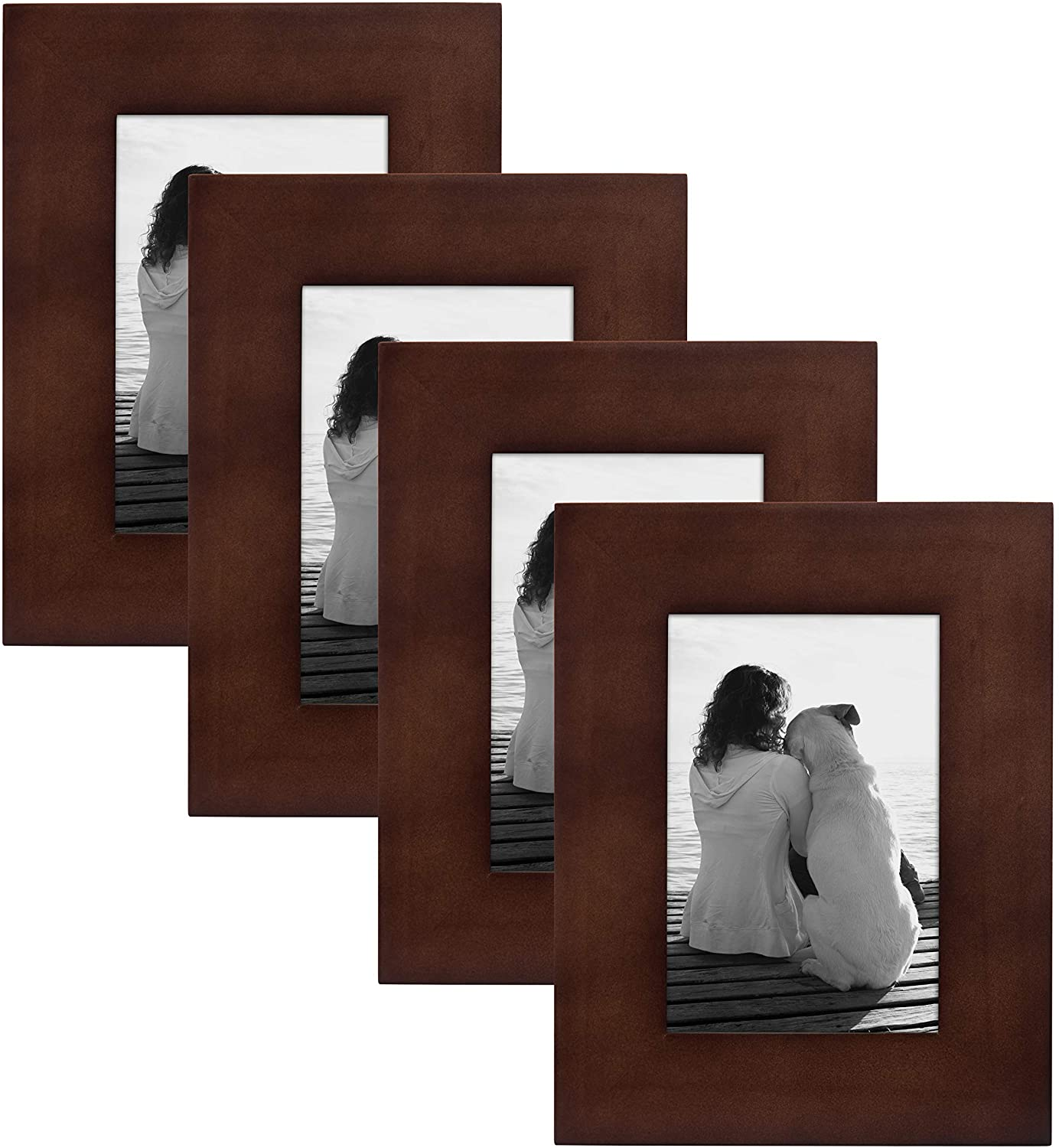 DesignOvation Museum Wooden Traditional Picture Frame Set for Customizable Wall Display, 4x6, Walnut Brown, 4 Pack