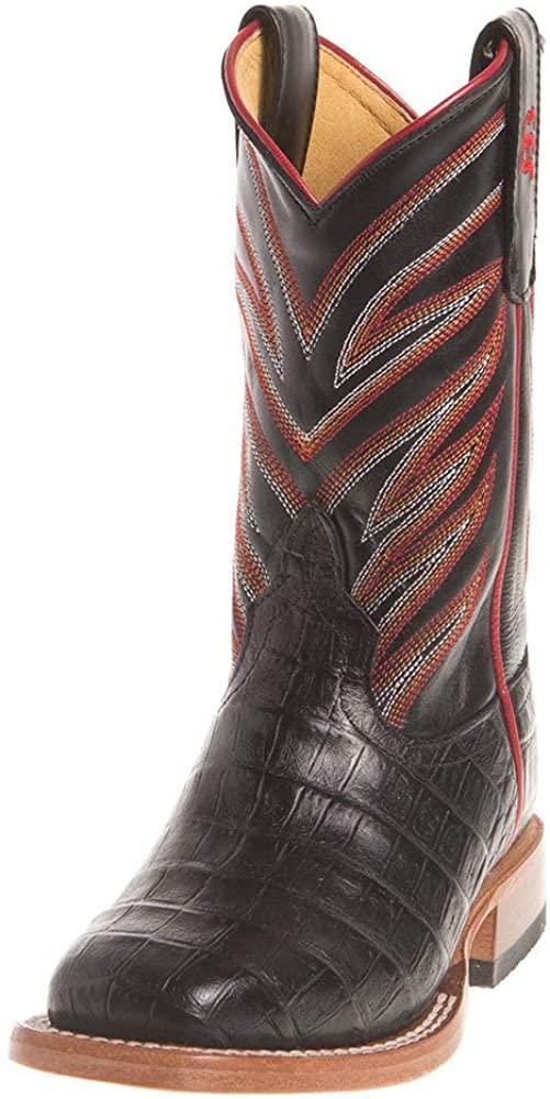 Anderson Bean Boys Kids Black Caiman Print Cowboy Boots