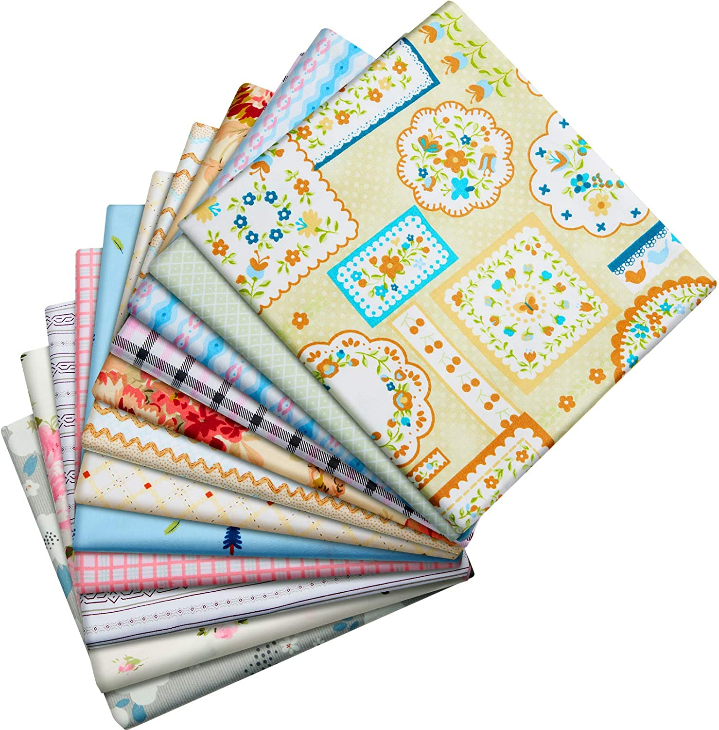 12 Pieces 50 x 50 cm Cotton Quilting Fabric Floral Dot Stripe Fabric Square Bundle Sewing Patchwork Fabric for DIY Art Crafts Scrapbooking Hand Sewing Projects