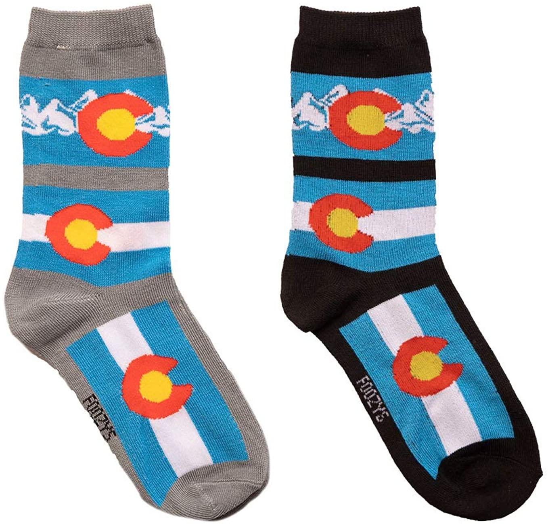 Foozys Women's Crew Socks | Cute Fun State of Colorado Themed Novelty Socks | 2 Pair