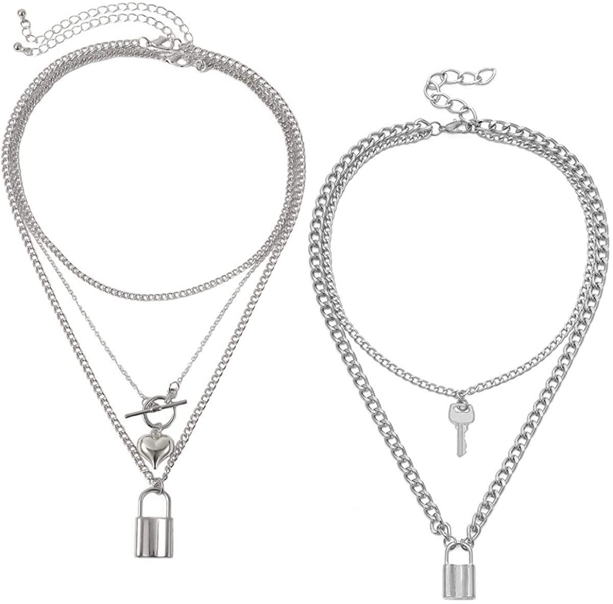Nanafast 2 PCS Layered Lock Necklace Set Adjustable Padlock Chain Choker Necklace Punk Heart Lock Pendant Necklace for Women Men Teen Girls Personalized Lock Gifts