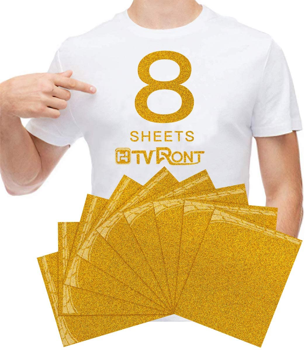 Gold Glitter Heat Transfer Vinyl HTV - 8 Sheets 12in x 10in Gold Iron On Glitter HTV Vinyl for Cricut & Silhouette Cameo, Easy to Cut & Press