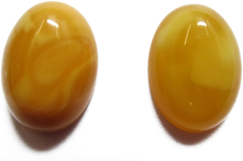 DaJ 2pcs 10x14mm 14x10mm Natural Butterscotch Amber Calibrated Oval Cabochon Gemstones Cab Gems Jewelry