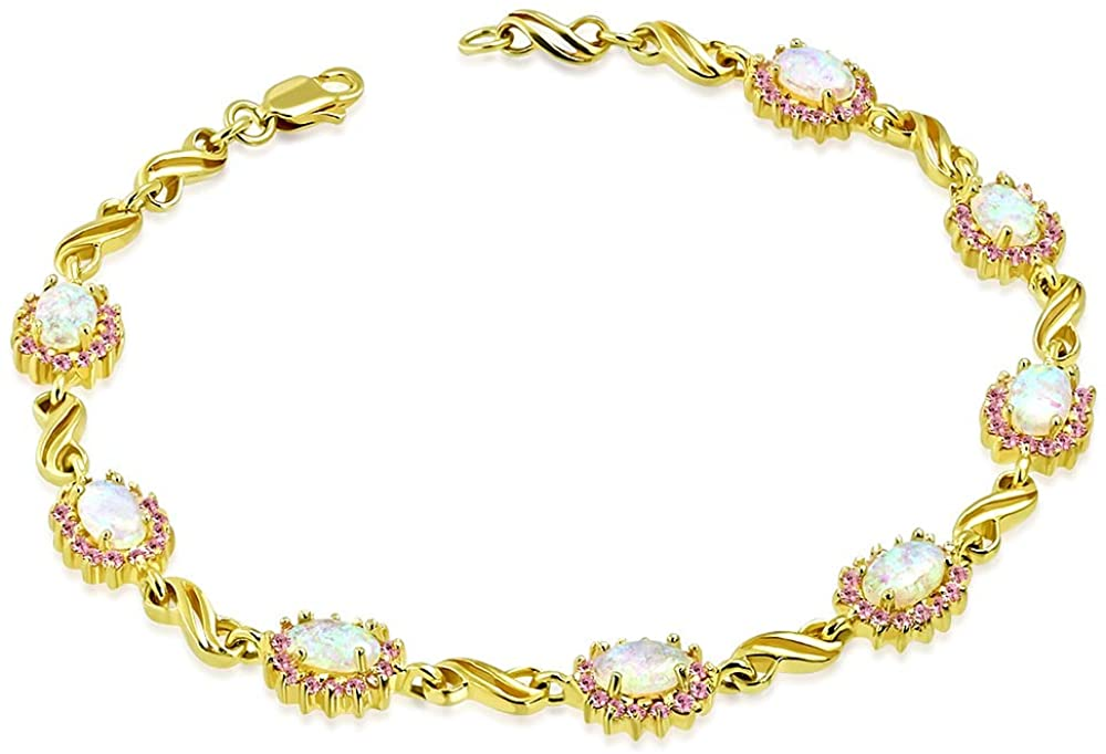 925 Sterling Silver Yellow Gold-Tone White Pink Simulated Opal S-link Tennis Bracelet, 7.5