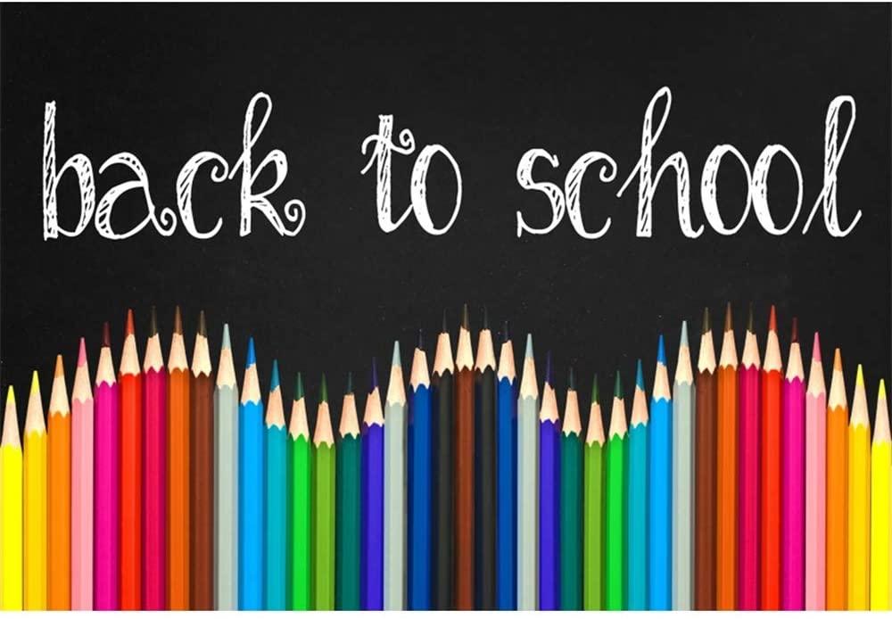 Leyiyi 7x5ft Back to School Backdrop Colorful Pencils Chalkboard Photo Backdrop Back to School Theme Party Decorations Vinyl Photography Backdrops