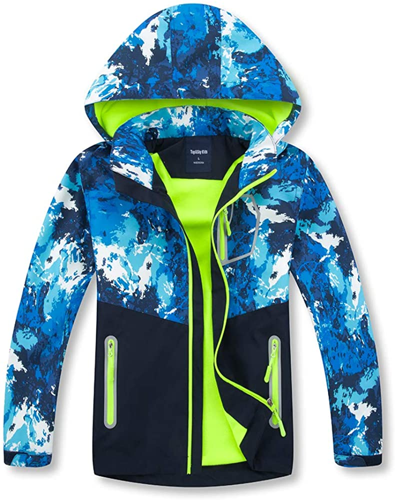 IjnUhb Boys Jacket Waterproof Kids Rain Jackets with Hood,Windbreakers Girls Outerwear Raincoats