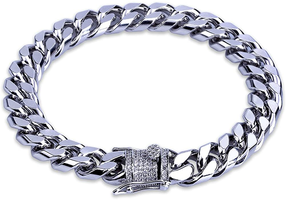 TOPGRILLZ Hip Hop14K Gold Plated Finished Miami Cuban Link Bracelet with Iced out Simulated Lab Diamond Clasp for Men Women