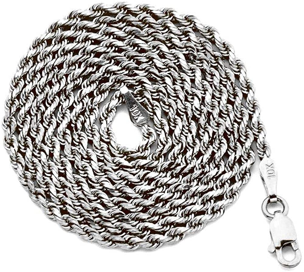 10K White Gold 2mm Diamond Cut Hollow Rope Chain Necklace with Lobster Lock (18