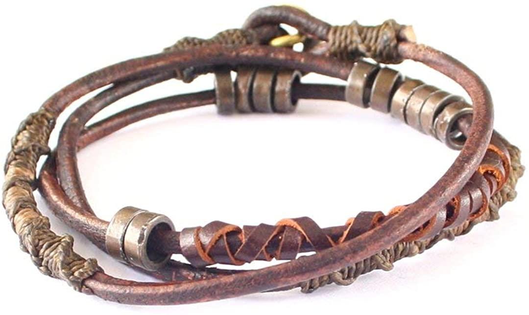 Wakami Fire Leather Wrap Bracelet, 7 1/2