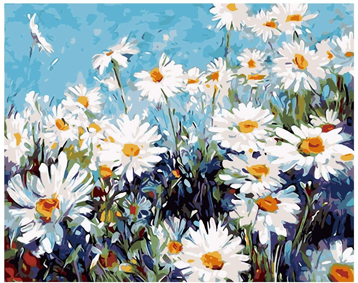 RICUVED DIY Oil Paint by Numbers Digital Canvas Oil Acrylic Painting Kit for Kids Adults Beginner Home Wall Decoration Little Daisies 16x20 Inch