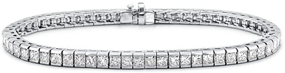 Madina Jewelry 6.00 ct Ladies Princess Cut Diamond Tennis Bracelet in Channel Setting