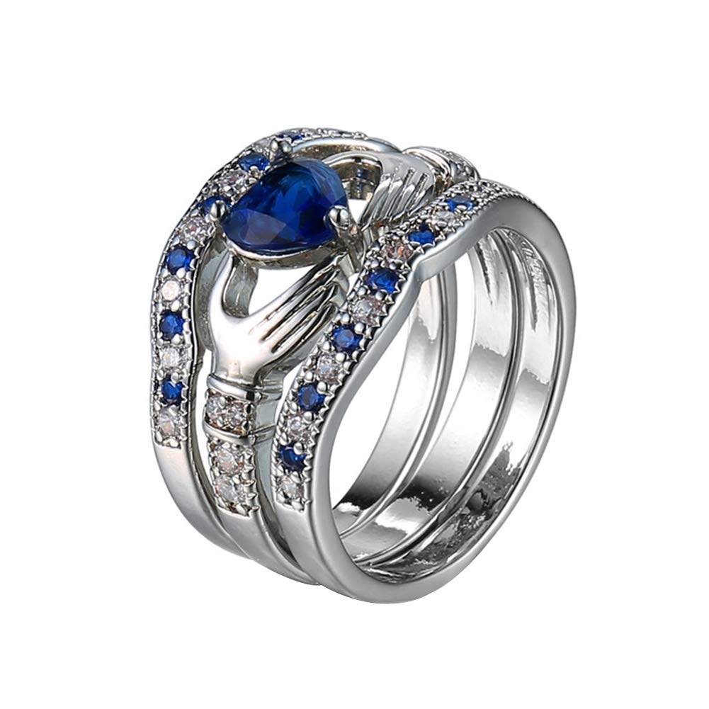 heaven2017 3Pcs/Set Heart Faux Sapphire Inlaid Stacking Ring Wedding Jewelry Gift for Women Girls US 12