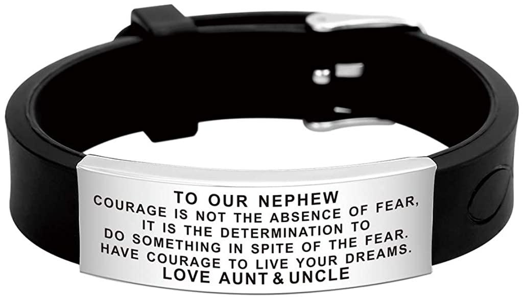 FALOGIJE Aunt and Uncle to Nephew Bracelet Nice Gift for Kids Teenage Boys Men Fashion Jewelry Lovely Design Reminder