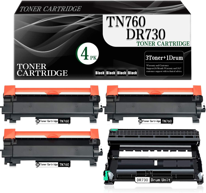 4-Pack (Black) TN760 Toner Cartridge+ DR730 Drum Unit Compatible Replacement for Brother DCP-L2550DW MFC-L2710DW L2750DW L2750DWXL HL-L2350DW L2370DW L2370DWXL L2390DW L2395DW Printer