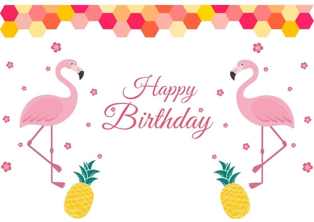 OERJU 9x6ft Happy Birthday Photography Background Flamingo Pink Flowers Pineapple Little Baby Girl Birthday Backdrop Party Decor Banner Cake Table Cloth Photocall Kids Portrait Photo Srudio Props