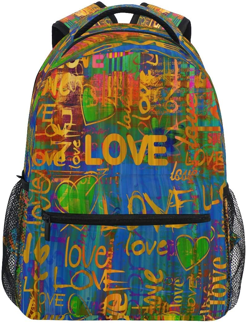 BEETTY Backpack for Girls Kids Boys Teens Graffiti Pattern Lightweight Durable Bookbag School Bag Laptop Bags Travel Hiking Camping Daypack