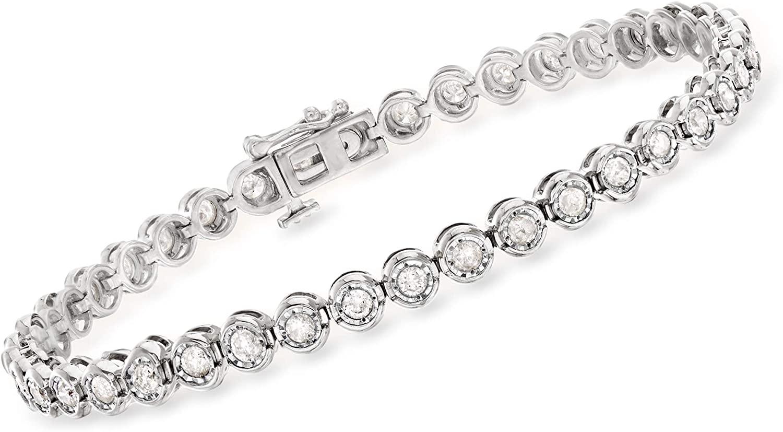 Ross-Simons 2.00-2.30 ct. t.w. Bezel-Set Diamond Bracelet in Sterling Silver