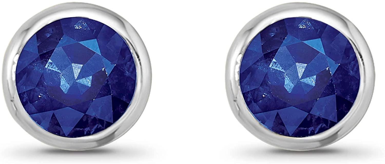 925 Sterling Silver Gemstone Solitaire Stud Earrings for Women