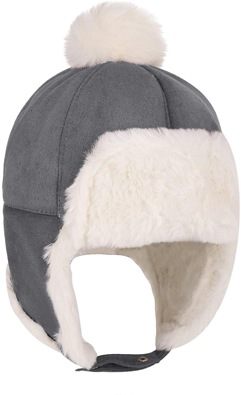 Baby Boys Girls Warm Fleece Lined Pilot Hat Toddler Winter Hat Earflaps Beanie Cap 6M-2T
