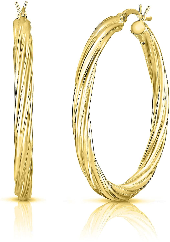 Women 925 Sterling Silver Hoop Earrings, Twist Hoop Earrings, 25MM-40MM Diamond Cut Hoop Earrings, Girls Hoop Earrings, Round Tube Hoop Earring, Style Accessories