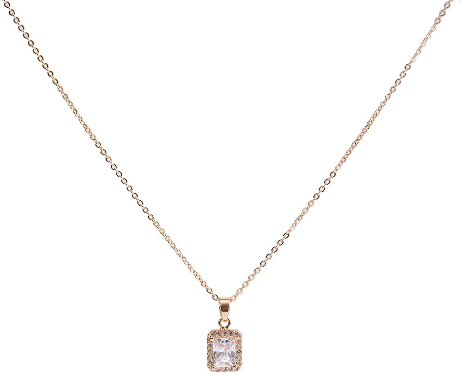 PESMES Round Solitaire Halo Necklace Heart Star Butterfly Pendant 14K Gold Plated Faux Diamond Cubic Zirconia Pendant Necklaces for Women, Dainty Crystal Necklaces for Women