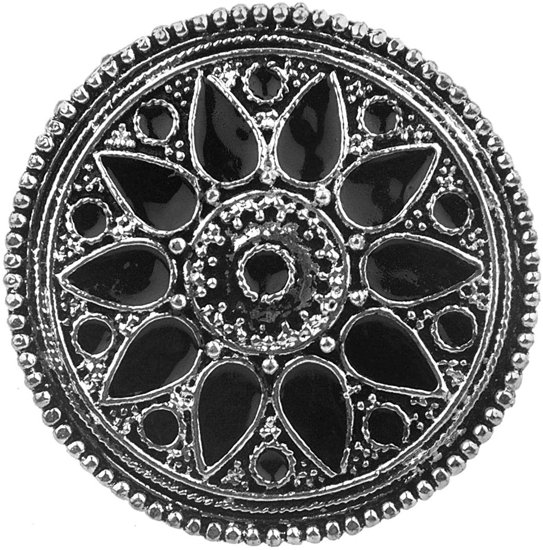 Efulgenz Boho Vintage Gypsy Indian Oxidized Silver Statement Enamelled Big Round Adjustable Ring Jewelry