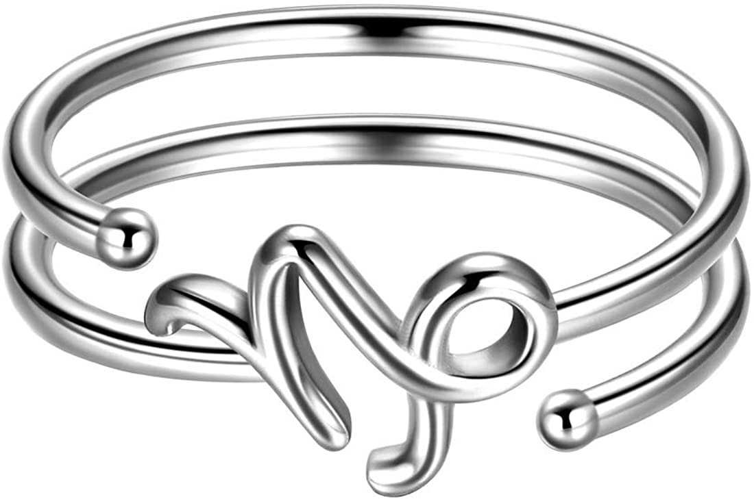 Beautlace Horoscope Zodiac Adjustable Ring 12 Constellation Astrology 925 Sterling Silver Opening Statement Ring for Women Men Teen Girls Jewelry Gift KR0019