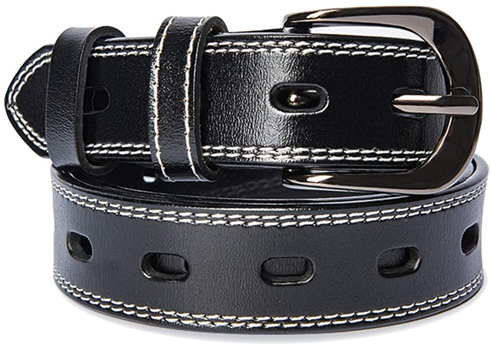 GINNZOO Adjustable Leather Belts for Women for Dresses and Jeans,Womens Brown/Black/Yellow Belts with Polished Pin Buckle (Black, L (waist size 36