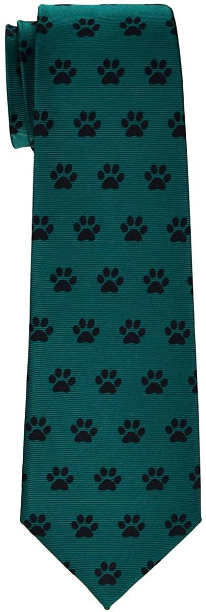 Retreez Doggie Puppy Paws Woven Microfiber Boys Tie - 8-10 years