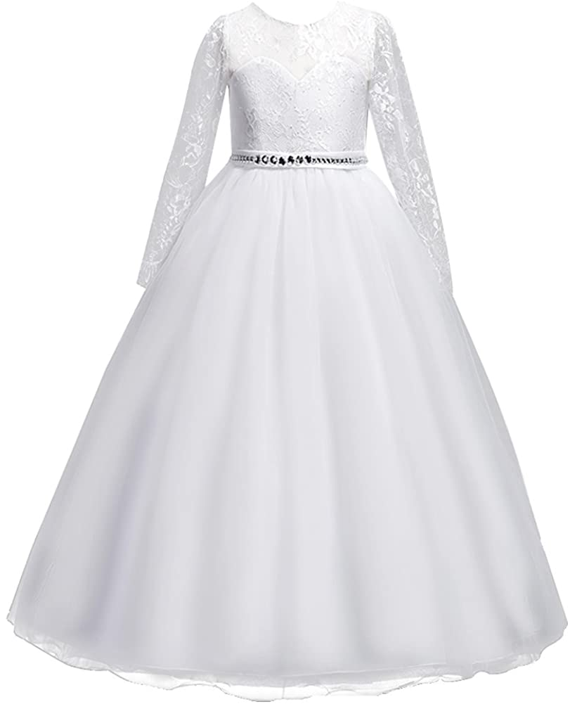 MYRISAM Vintage Girls 3/4 Long Sleeve Dress Tulle Lace Birthday Wedding Bridesmaid Evening Ball Gown Floor Length Dresses