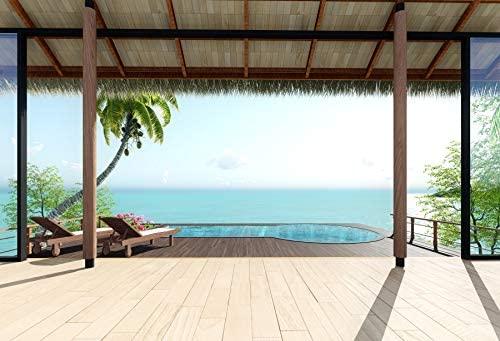 Leowefowa Tropical Beach Pavilion Backdrop 10x8ft Vinly Seaside Holiday Backgroud Beach Chair Costal Landscape Coconut Tree Wedding Photography Backdrop Children Adult Portraits Shooting