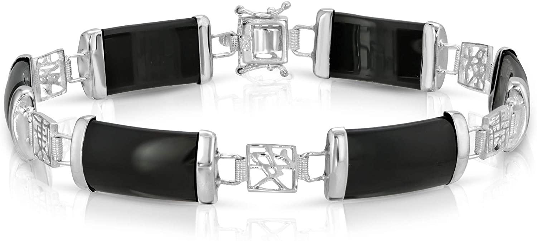 Regalia by Ulti Ramos Sterling Silver Real Jade Link Bracelet 7.5