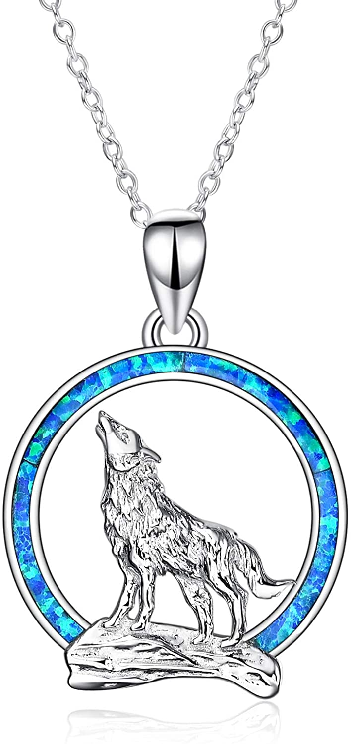 YFN Wolf Pendant Necklace 925 Sterling Silver Cubic Zirconial Wolf Moon Necklace 18