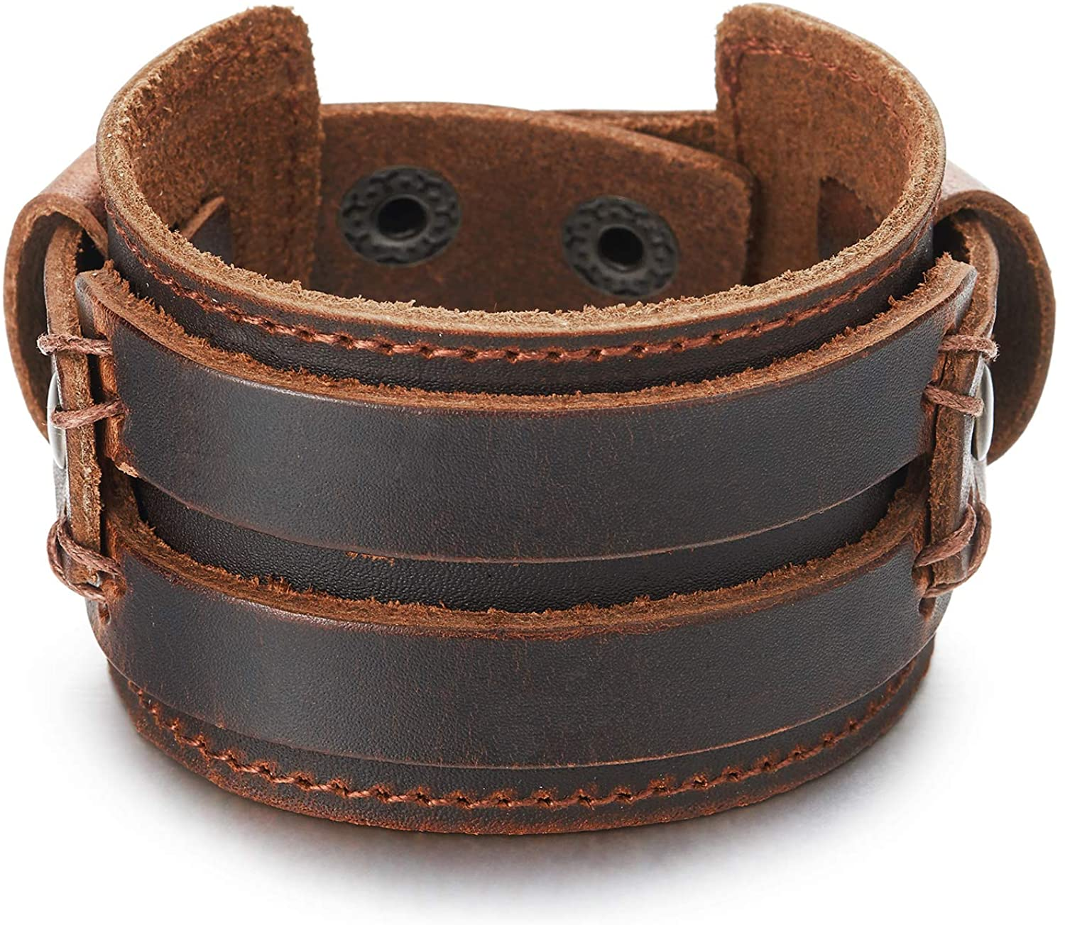 COOLSTEELANDBEYOND Metallic Genuine Leather Wristband Mens Wide Leather Bracelet with Snap Button