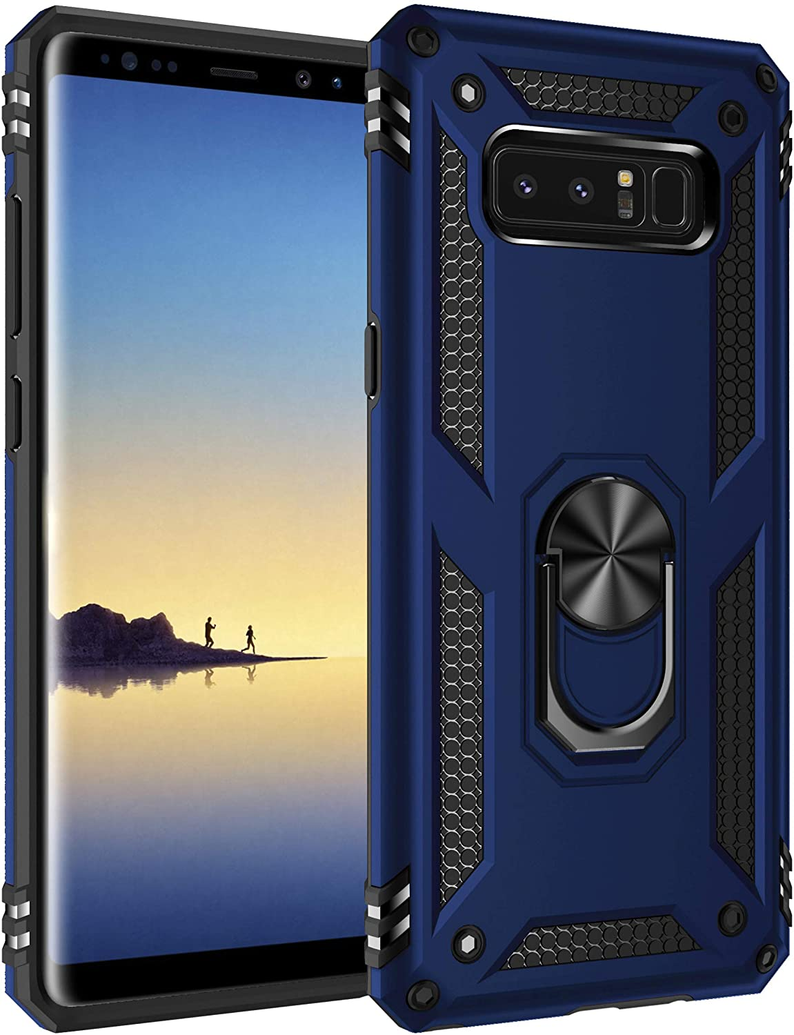 Konyaoo for Galaxy Note 8 Mobile Phone case, Shockproof,Anti-Fall Durable and Sturdy Non-Slip Double-Layer Plastic TPU Cover Ring, Suitable for Samsung Galaxy Note 8 6.3-inch Blue