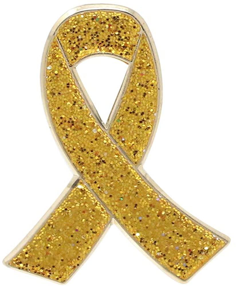 WIZARDPINS Gold Glitter Awareness Ribbon Enamel Pin Child Cancer