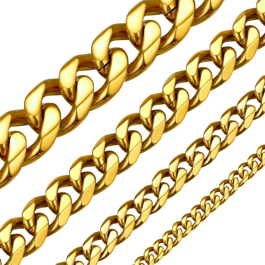 ChainsHouse Hip Hop Curb Boys Necklace Stainless Steel/18K Gold Plated Cuban Link Chain for Mens Womens 18-30 Inch, 3MM-15MM Wide Fashion Jewelry,Send Gift Box