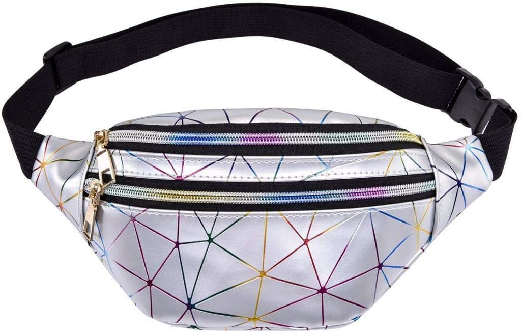 LIVACASA Holographic Fanny Packs for Women Cute Waist Packs Shiny Waist Bum Bag Waterproof for Travel Party Festival Running Hiking