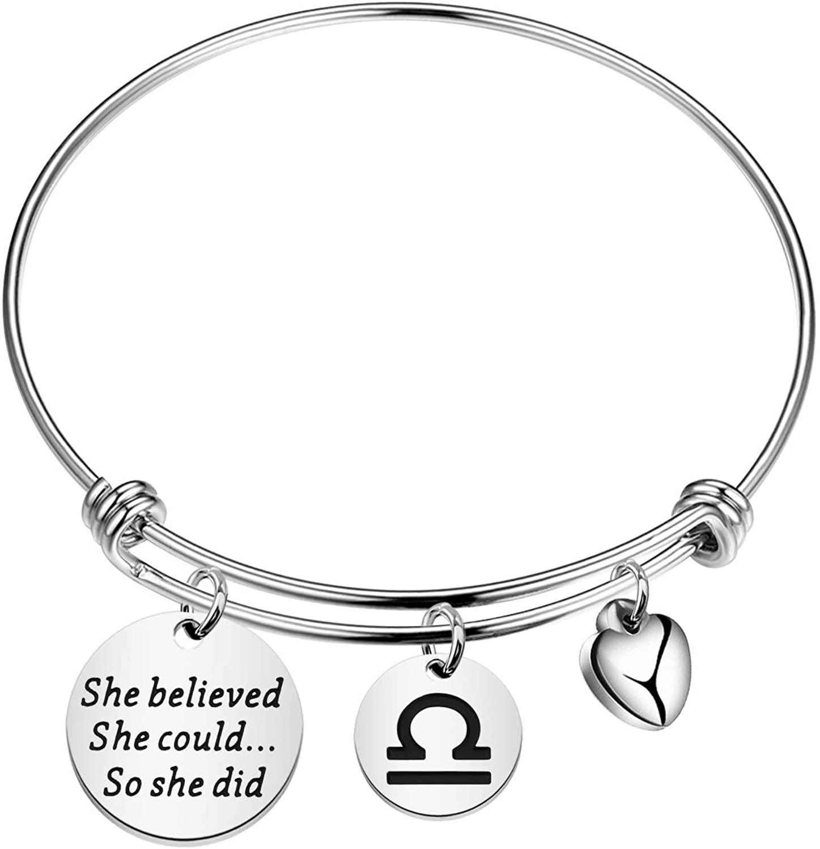 FAADBUK Zodiac Symbol Charm Bracelet Gift She Believed She Could So She Did Jewelry Jude Jewelers Bracelet Astrology Constellation Bracelet for Women Girls