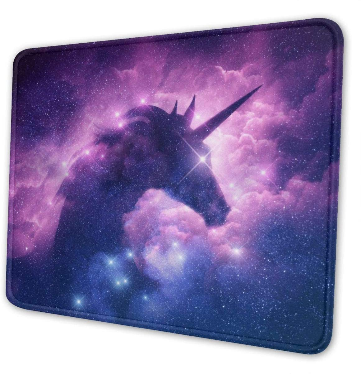 Galaxy Purple Unicorn Mouse Pad, Space Gaming Mouse Mat, Anti-Slip Rubber Mouse Mat with Durable Stitched Edge for Office Laptop Computer PC Men Women Kids 10 X 12 Inch