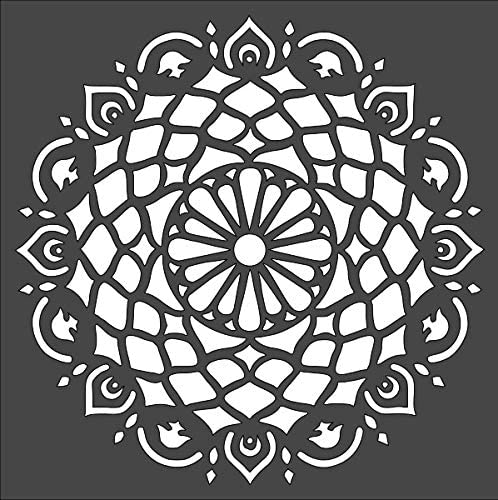 Rubstamper Mandala Design Logo Stencil Reusable Sturdy Flexible Clear Plastic 1-8x8 in Arts and Crafts Material Scrapbooking for Airbrush Painting Drawing
