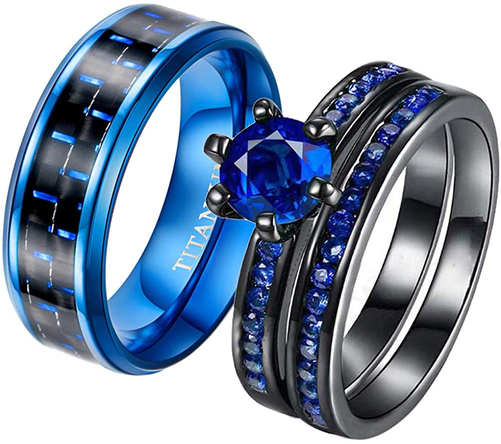 2 Rings His and Hers Couple Rings Bridal Sets 2pcs Black Gold Filled Blue Cz Womens Wedding Ring Man Titanium Band Mens Ring