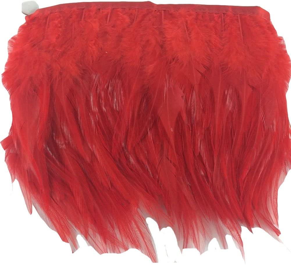 KOLIGHT Pack of 10 Yards Natural Rooster Hackle Feather Trim Fringe 4-6 in Width DIY Decoration (Red)