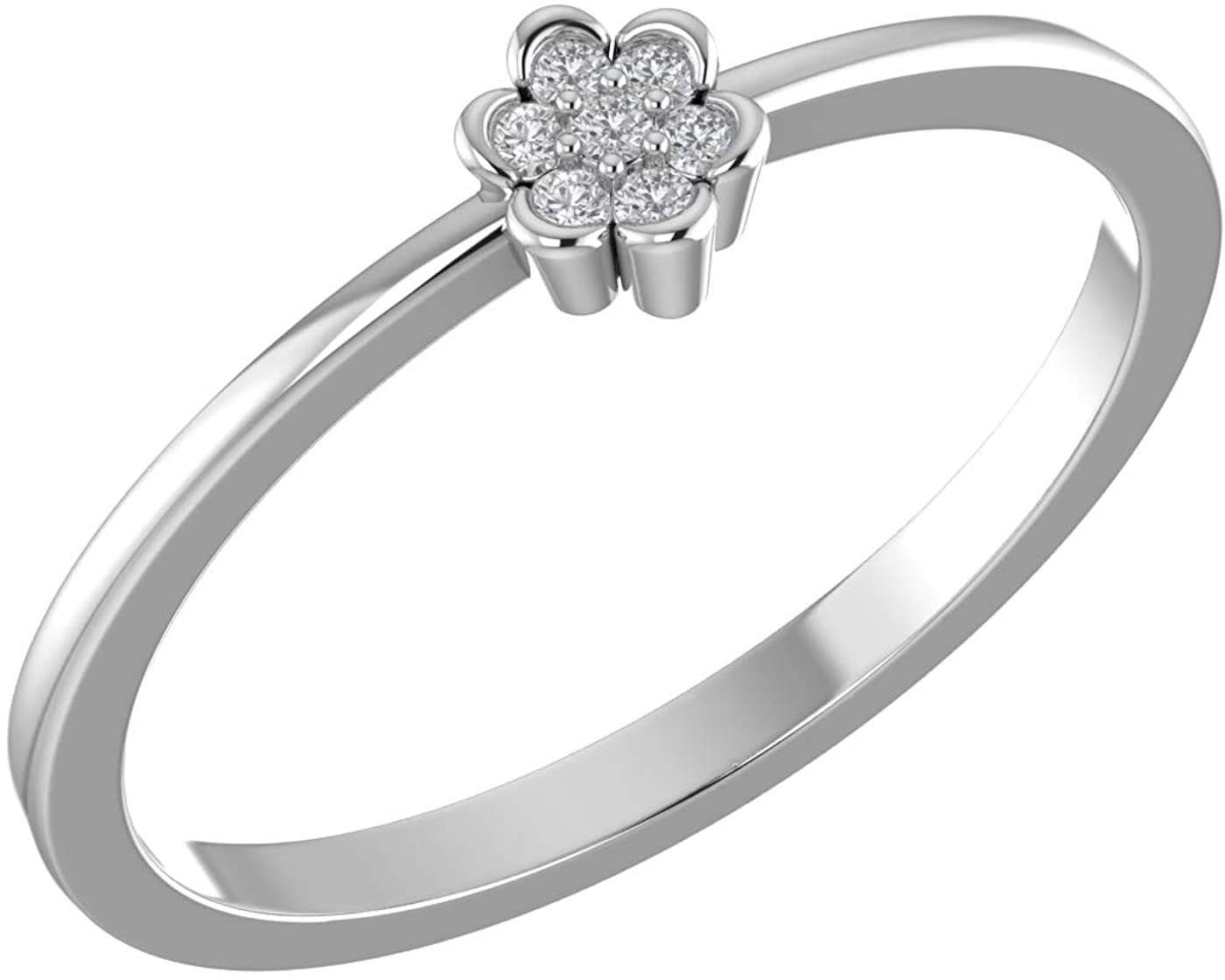 Amayra Diamond Ring 0.05 CTW-7 Natural Round Stones Set in 925 Sterling Silver- Brilliant Cut- Perfect for Bridal Promise Ring,Anniversary,Daily wear or Parties (Color-GH Clarity-VS-SI)