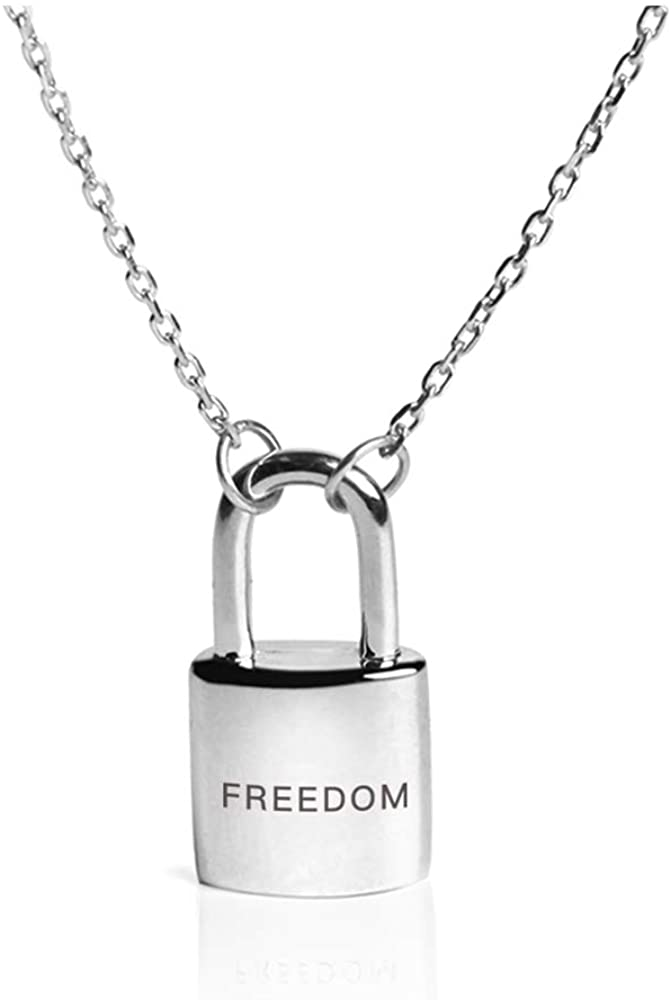 Dtja Lock Heart Necklace Sterling Silver Pendant Choker for Women Girls Cute Love Freedom Engraved Y Necklace Adjustable Link Chain 19 Fashion Personalized Punk Jewelry Unique Gifts for Best Friends