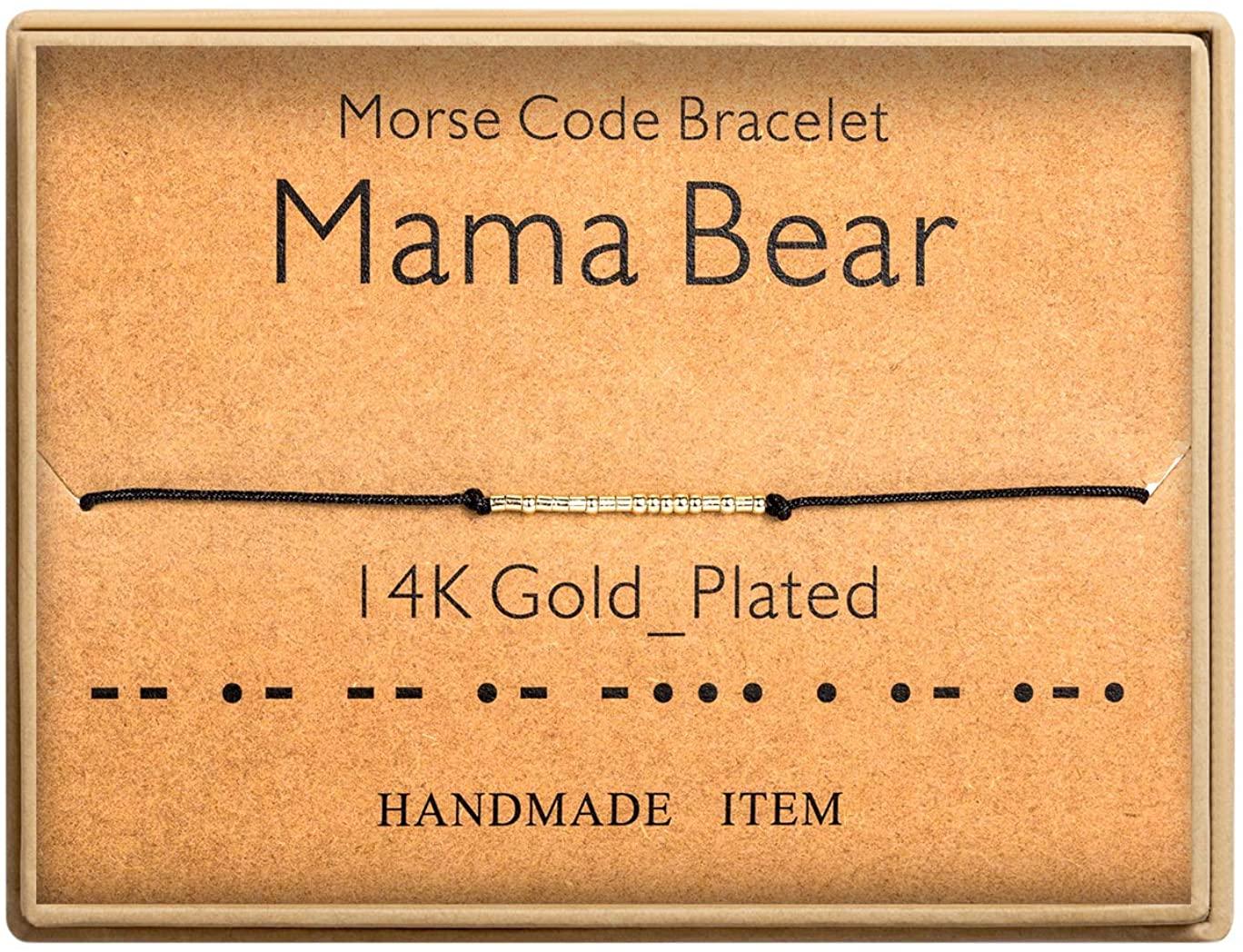 SANNYRA Morse Code Bracelet 14k Gold Plated Beads on Silk Cord Secret Message Aunt Bracelet Gift Jewelry for Her