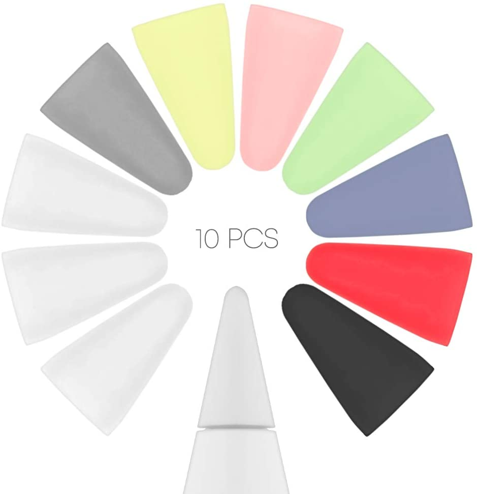 Goospery 10 Pack iPad Pencil Nib Cover, Silicone Tip Protector Compatible with Apple Pencil 1st & 2nd, APEN-MX