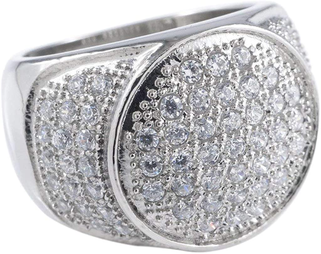 NIV'S BLING Presidential Diamond Ring Iced with Cubic Zirconia | 18K White/Yellow Gold Plated Stainless Steel Hip Hop Ring Jewelry